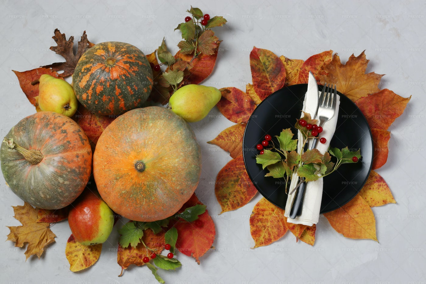 Table Setting On Thanksgiving Day: Stock Photos
