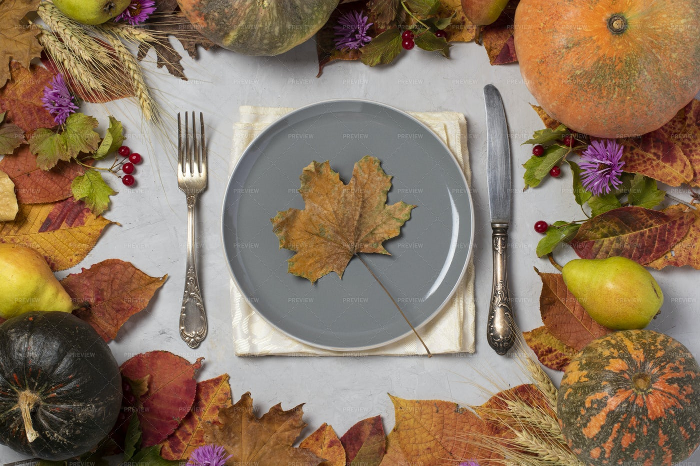 Autumn Frame With Plate: Stock Photos