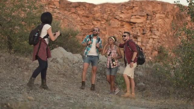 Young Travelers Taking Photos: Stock Video