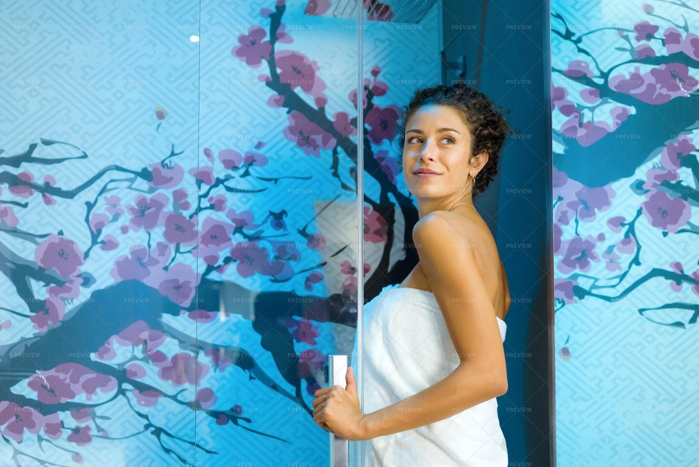 Blue Shower Cubicle: Stock Photos