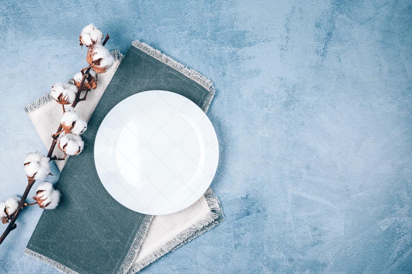 Plate On Linen Napkins: Stock Photos