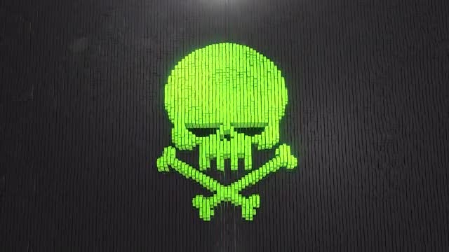Green Skull Blocks Formation: Stock Motion Graphics