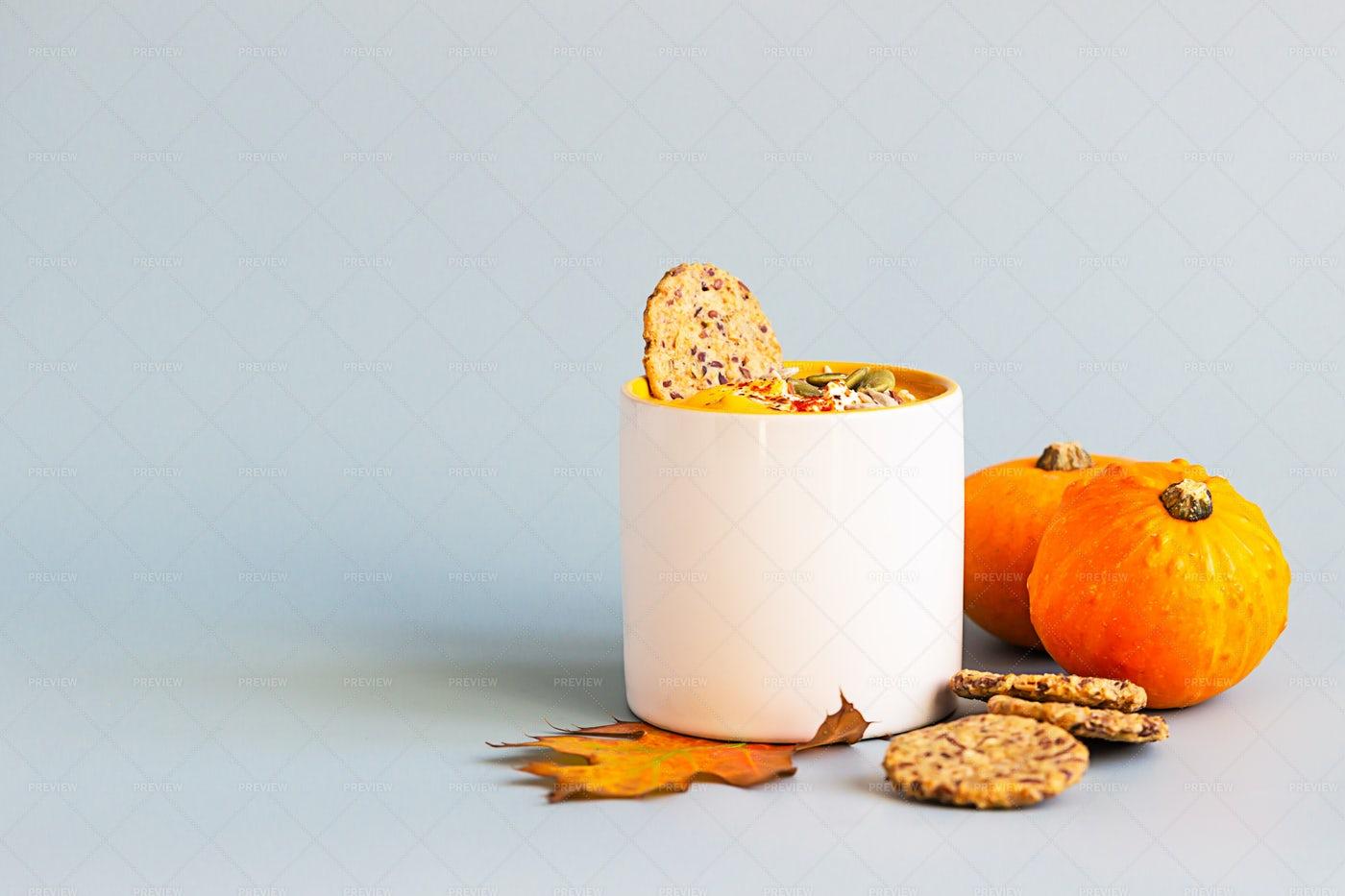 Pumpkin Soup In Mug: Stock Photos