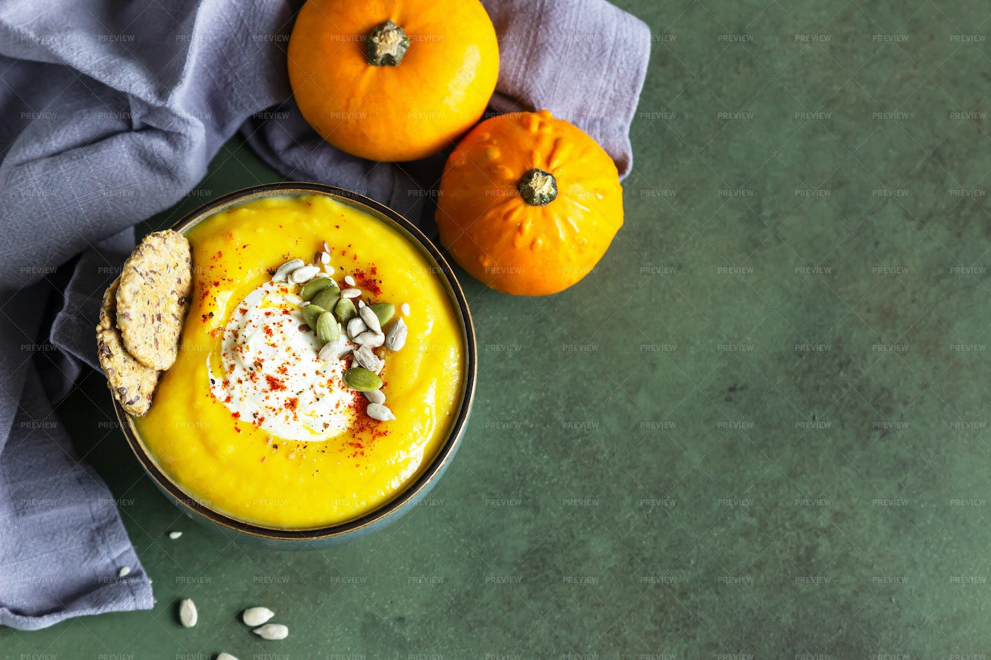 Pumpkin Soup Served In Bowl: Stock Photos