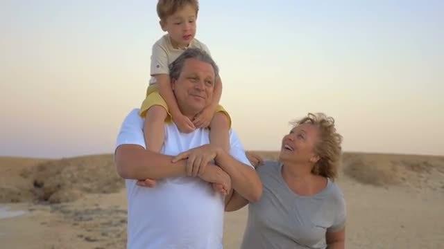 Happy Senior Couple With Grandson: Stock Video