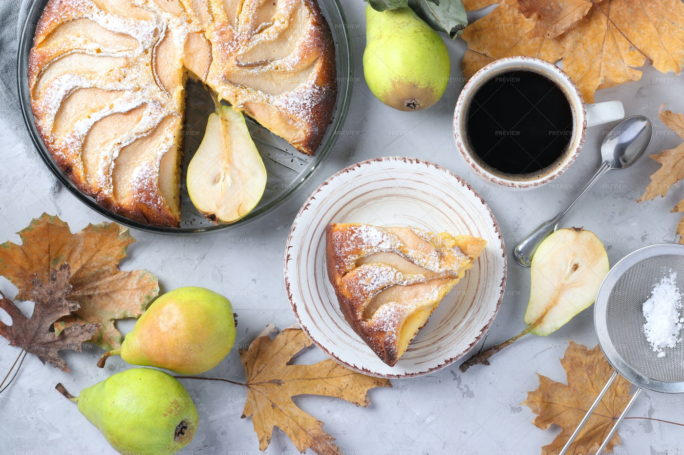 Homemade Pie With Pears: Stock Photos