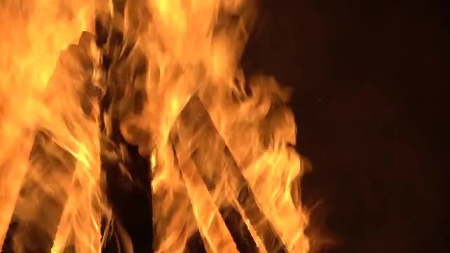 Firewood Burning In The Dark: Stock Video