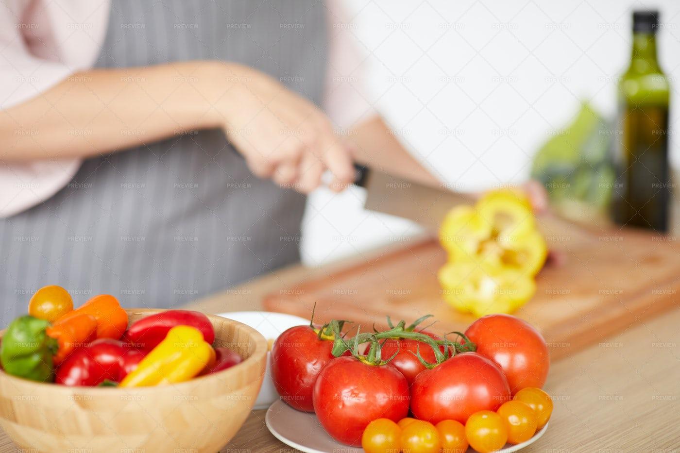 Woman Preparing Vegetable Salad: Stock Photos