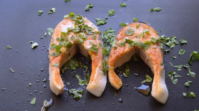 Salmon Cooked On A Pan Grill: Stock Video