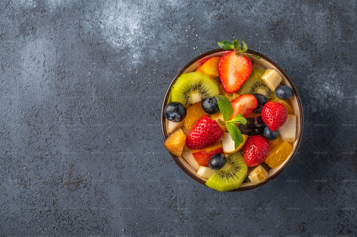 Fruit Salad On Dark Background: Stock Photos