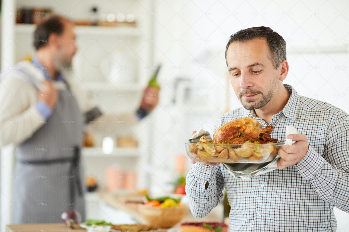 Man With Roast Turkey: Stock Photos