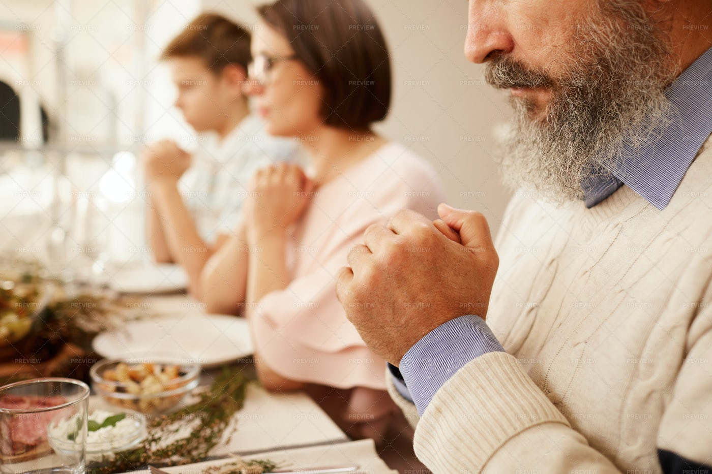 Praying Before Dinner: Stock Photos