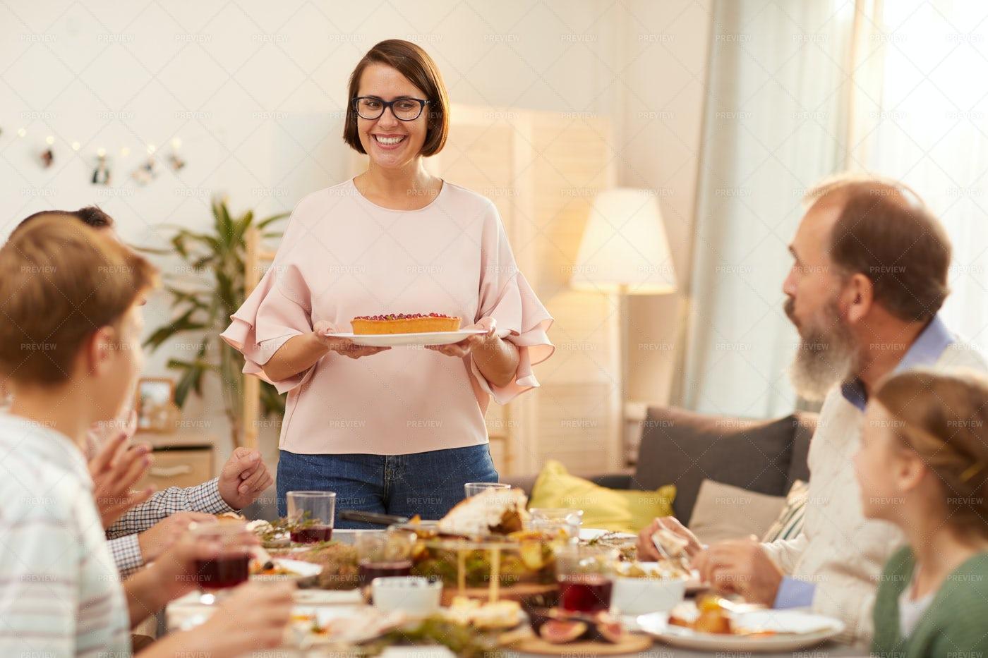 Woman Serving Dessert: Stock Photos