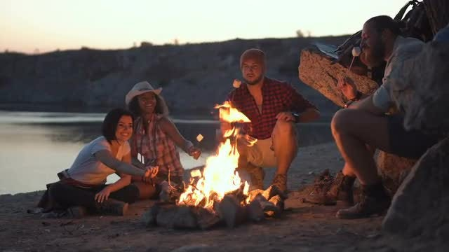 Friends Around Campfire With Marshmallows: Stock Video