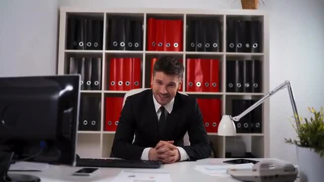 Portrait Of Businessman In Office: Stock Video