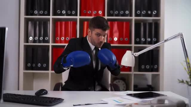Businessman Ready To Fight: Stock Video