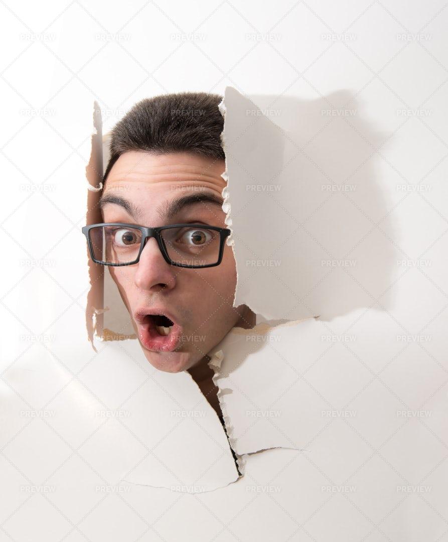 Head Through The Wall: Stock Photos