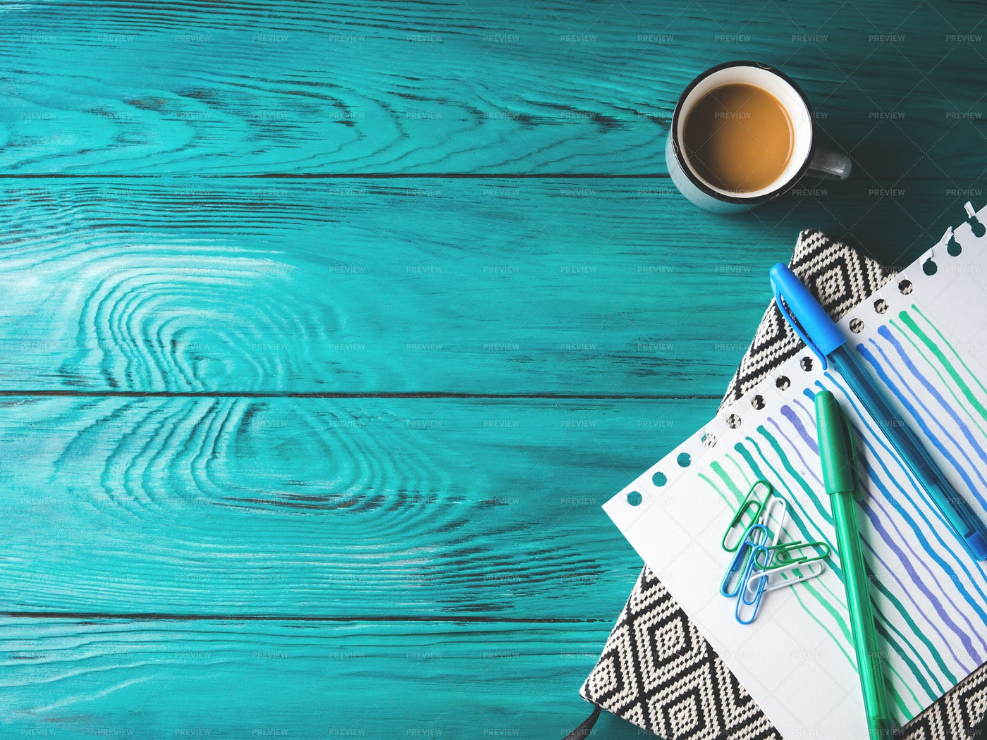 Coffee And Stationery On Desk: Stock Photos