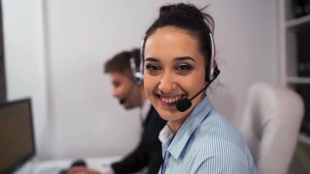 Call Center Employees At Work: Stock Video