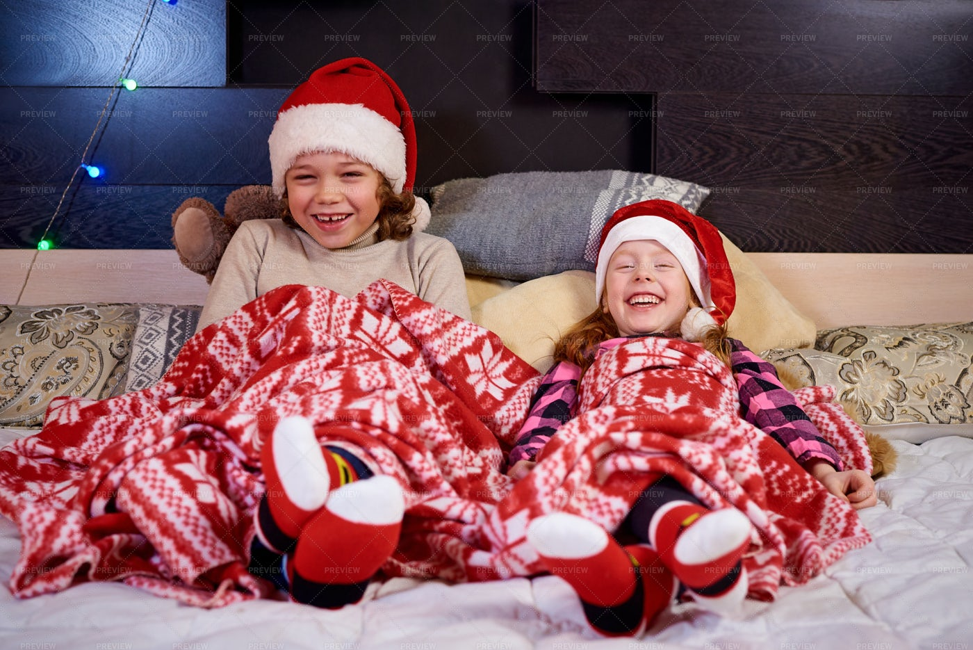 Happy Children Waiting For Christmas: Stock Photos