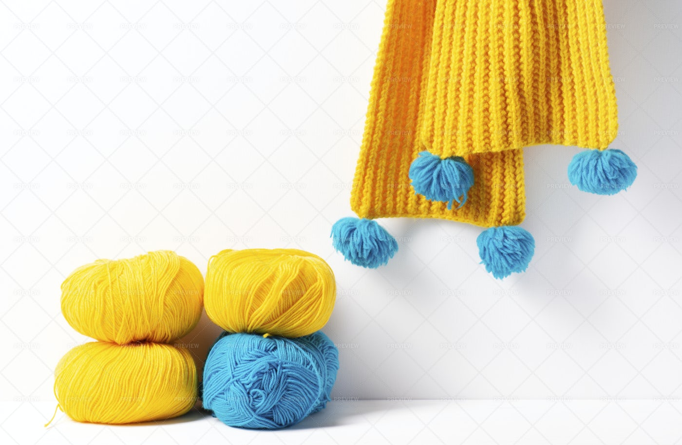 Yellow And Blue Yarn: Stock Photos