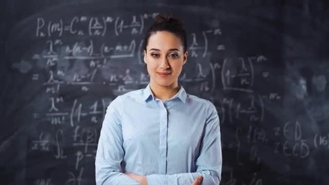 Shy Female Math Teacher : Stock Video