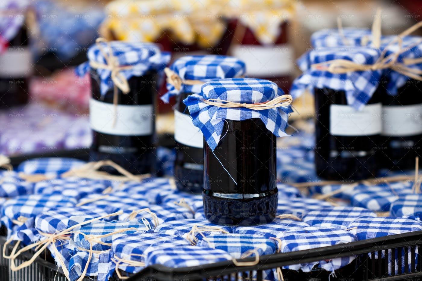 Jars With Berry Jam: Stock Photos