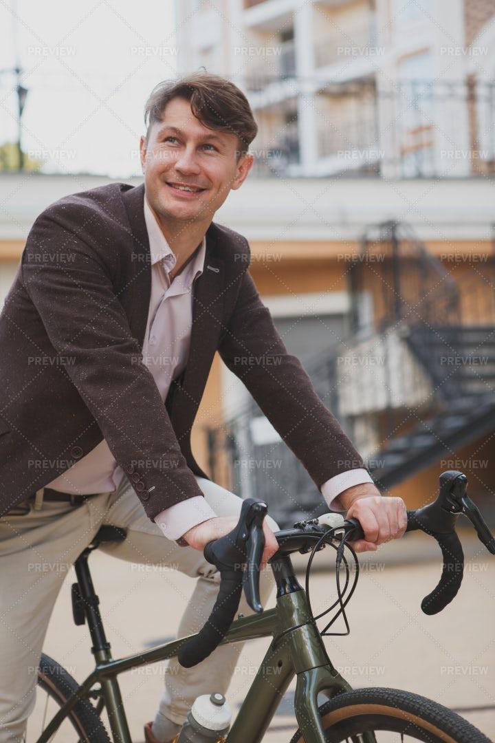 Handsome Man Cycling: Stock Photos