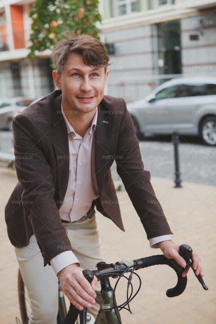 Riding A Bike To Work: Stock Photos