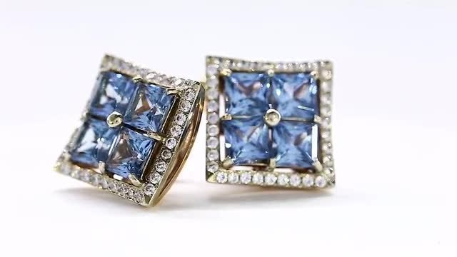 Beautiful Blue Zirconium, White Gold Earring: Stock Video
