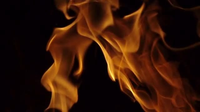 Golden Fire Flames Slow Motion: Stock Video