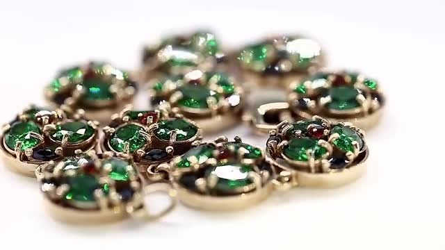 Beautiful Green Zirconium And White Gold Bracelet: Stock Video