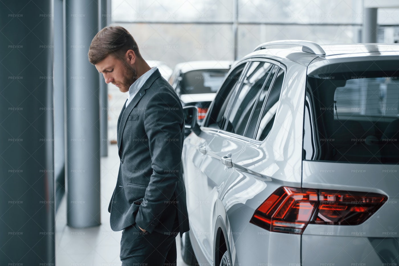 Businessman In The Automobile Saloon: Stock Photos