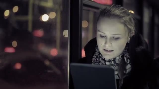 Woman Watching Tablet In Bus : Stock Video