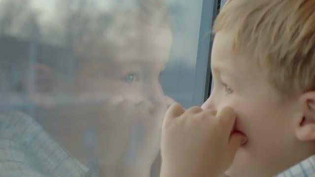 Little Boy Enjoying Train View : Stock Video
