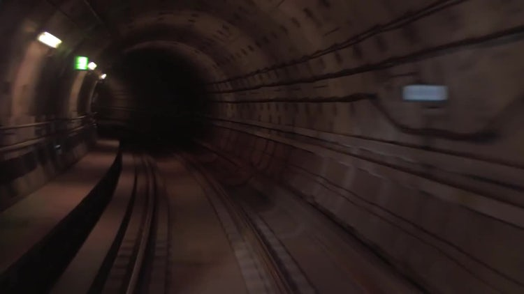 Train Moving In Underground Tunnel: Stock Video