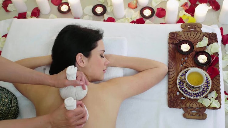 Herbs Massage At The Spa: Stock Video