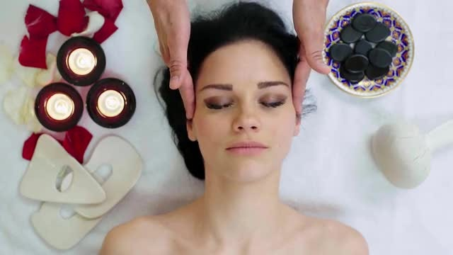 Woman Getting Soothing Facial Massage : Stock Video
