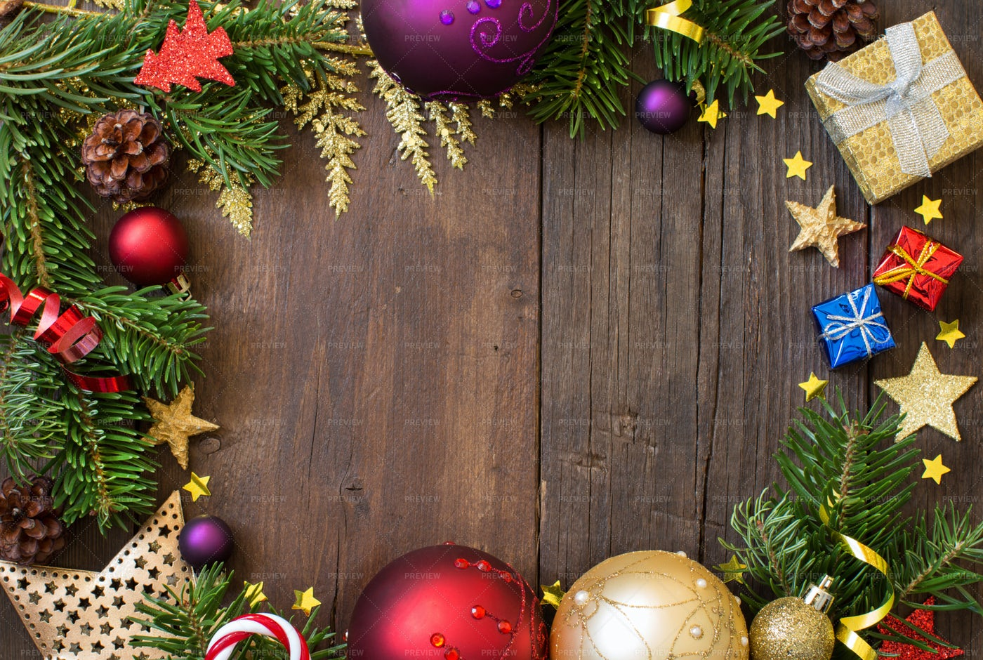 Christmas Decorations In Frame: Stock Photos