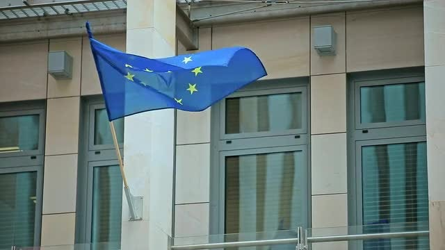Waving EU Flag  On Building: Stock Video