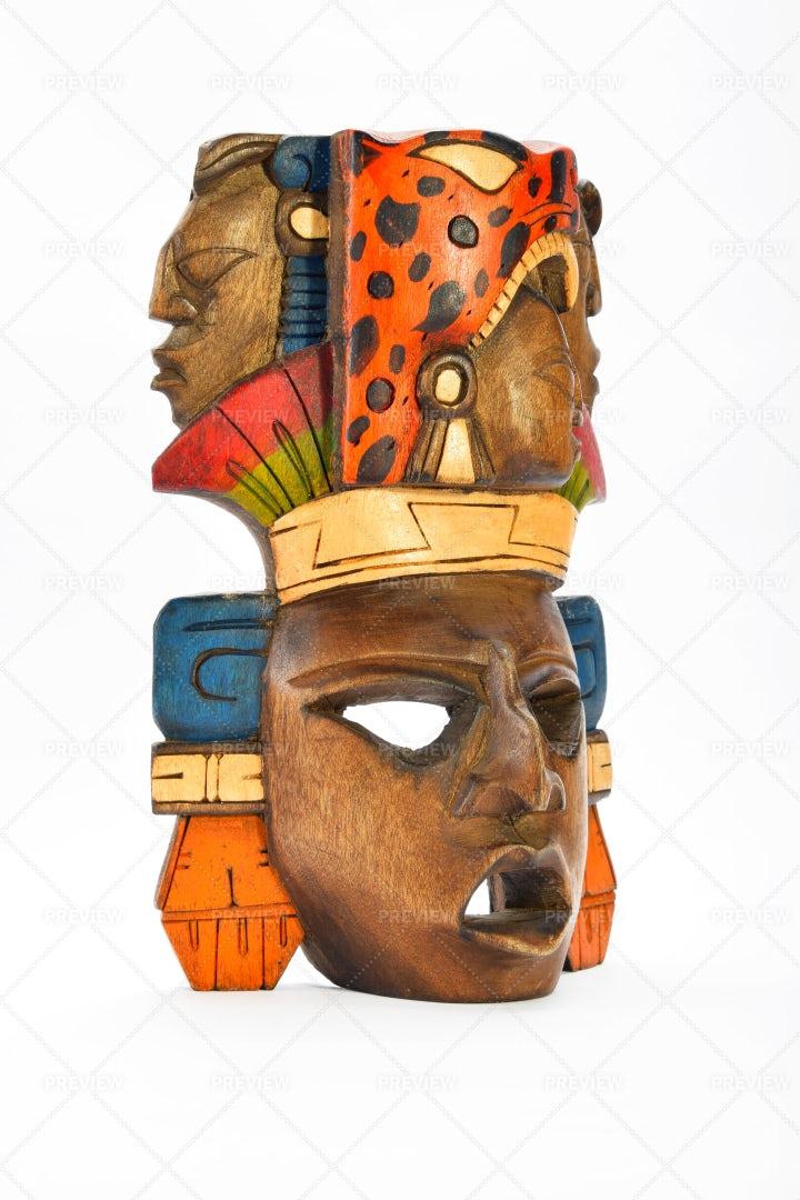 Mayan Wooden Painted Mask: Stock Photos