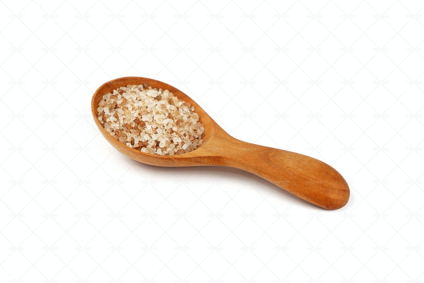Spoon Of Smoked Danish Salt: Stock Photos
