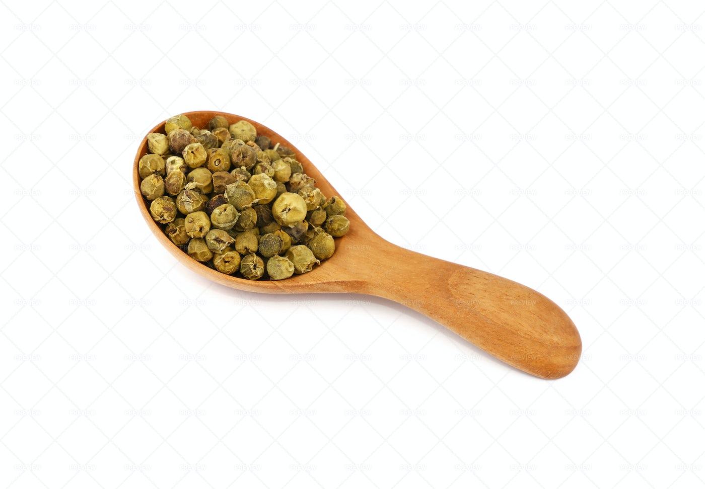 Spoon Of Green Peppercorns: Stock Photos
