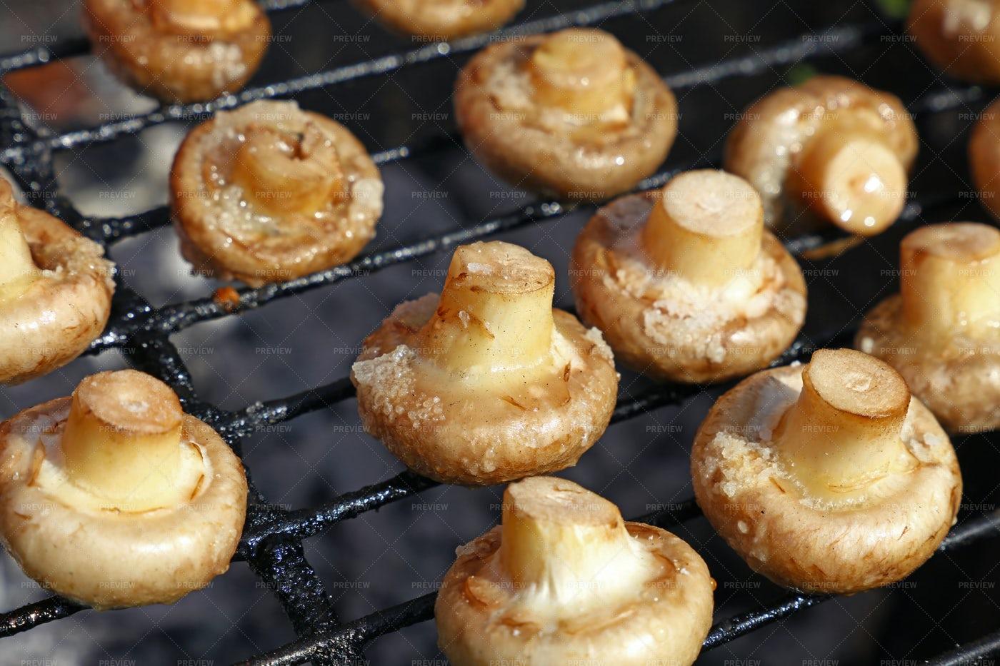 Champignons Mushrooms On Grill: Stock Photos
