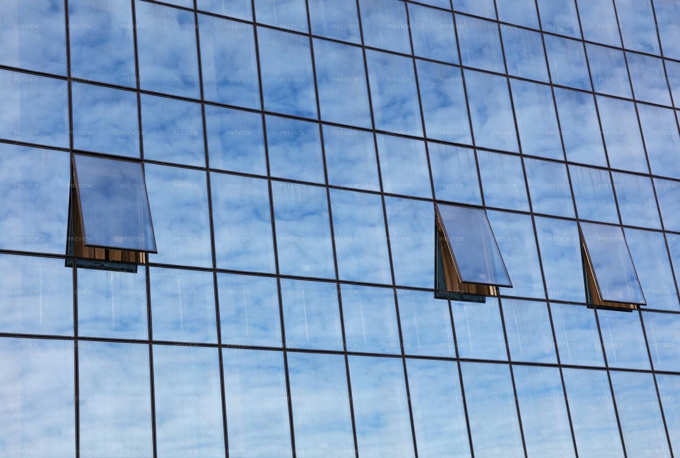 Sky Reflection In Building Windows: Stock Photos