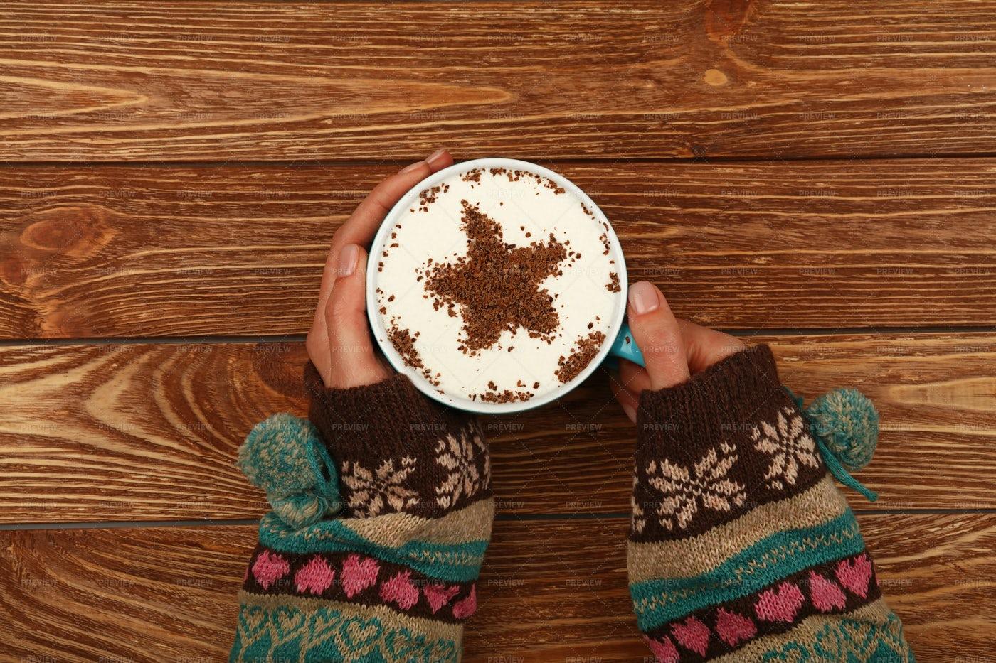 Hands Holding A Cappuccino: Stock Photos