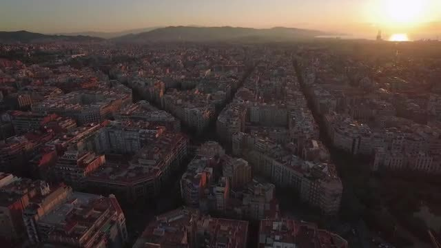 Aerial Cityscape Of Barcelona City: Stock Video