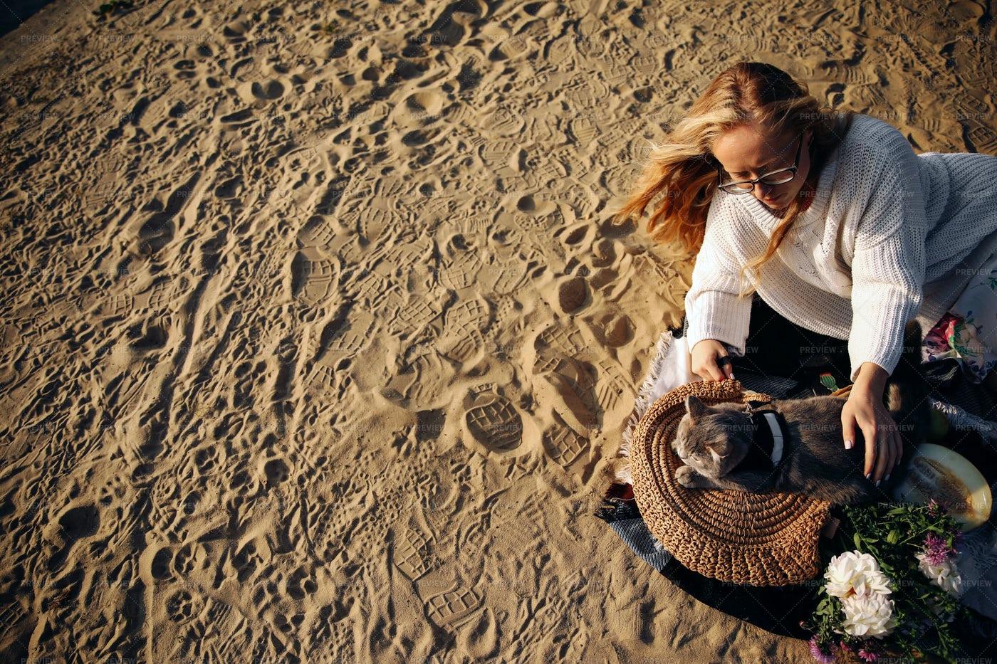 Woman With Cat At Beach: Stock Photos
