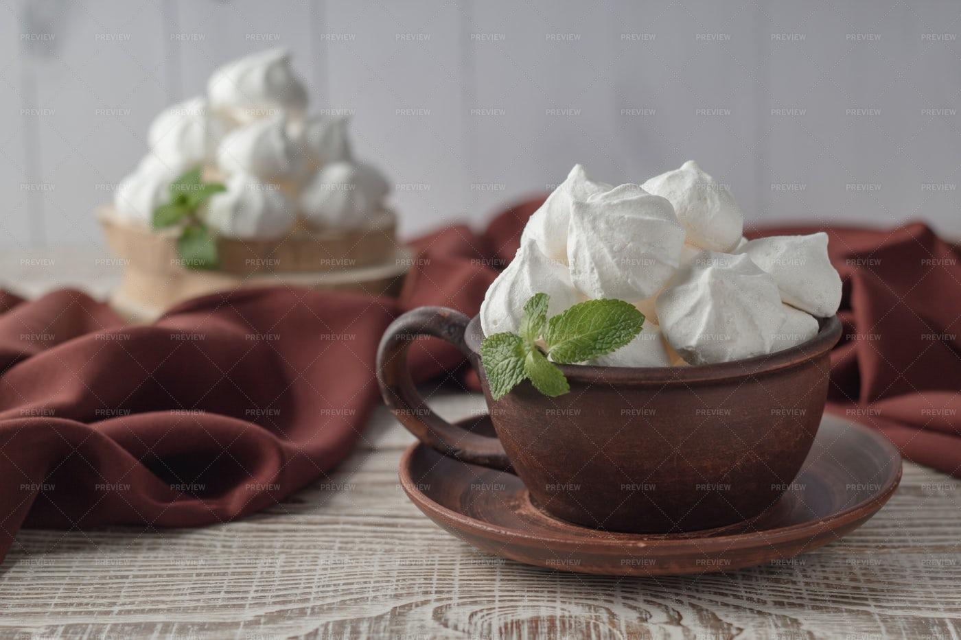 Cup With Vanilla Meringues: Stock Photos