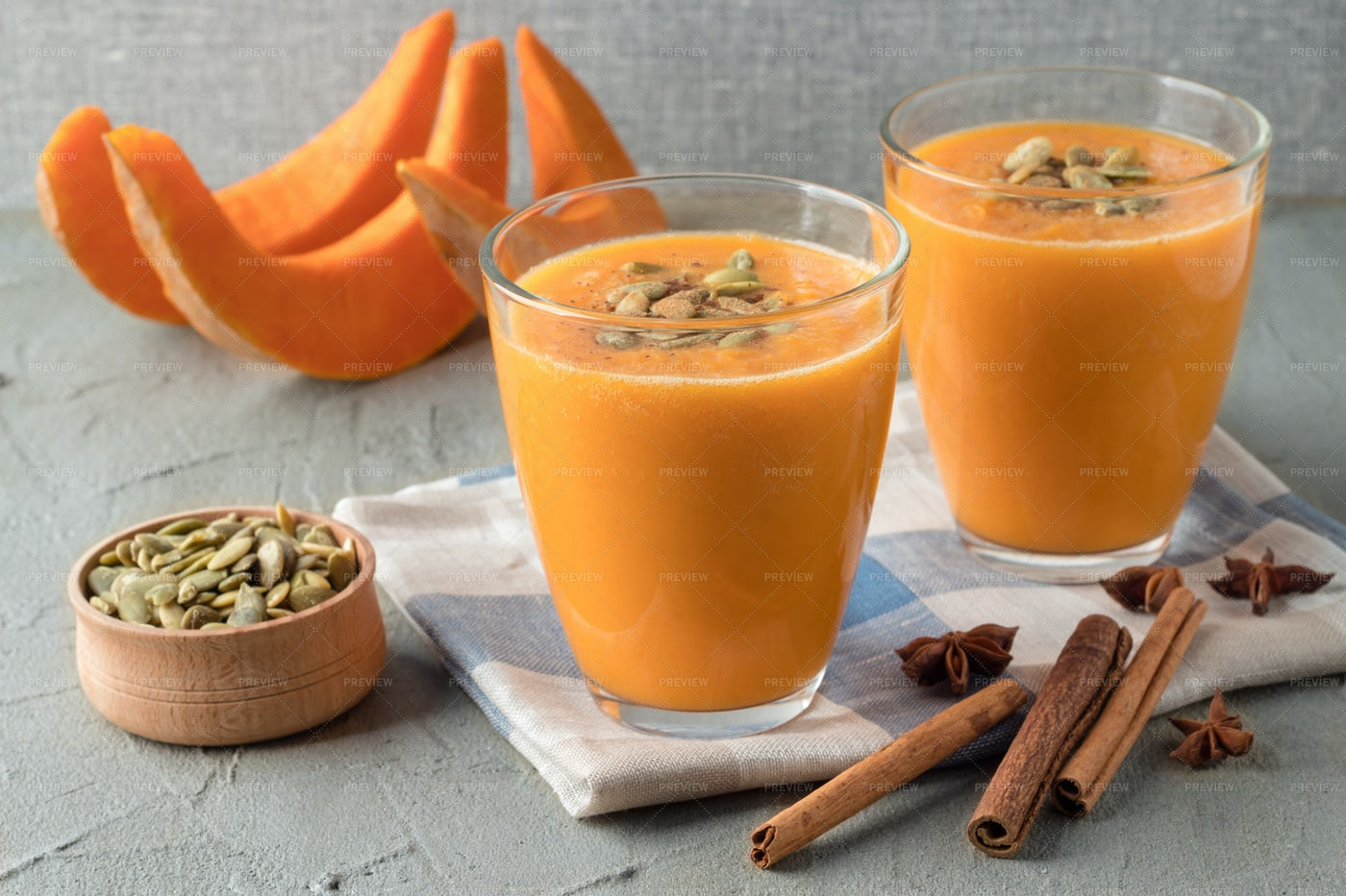 Glasses With Pumpkin Smoothie: Stock Photos